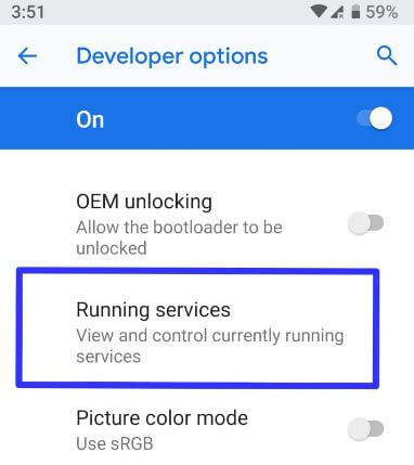 Running services in android Oreo phone