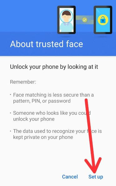 Set up trusted face in Pixel 2 XL Oreo