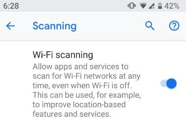 Turn on Wi-Fi scanning in android P 9.0