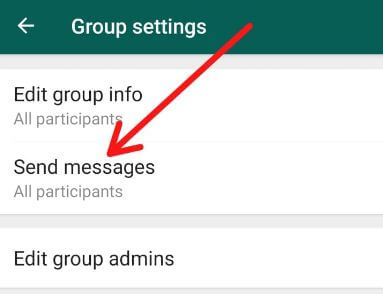 WhatsApp group admins restrict sending messages android phone