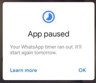 App paused because of time limit in android Pie
