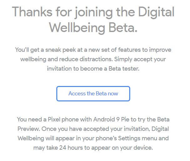 Digital wellbeing beta for android Pie 9.0