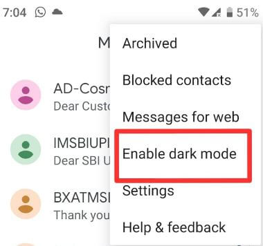 How to enable dark mode on android messages