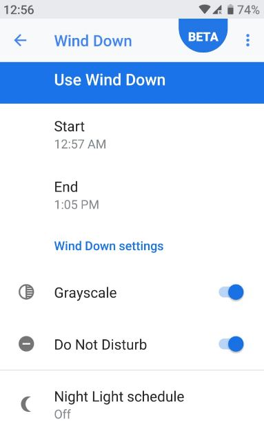 How to use wind down on android 9 Pie