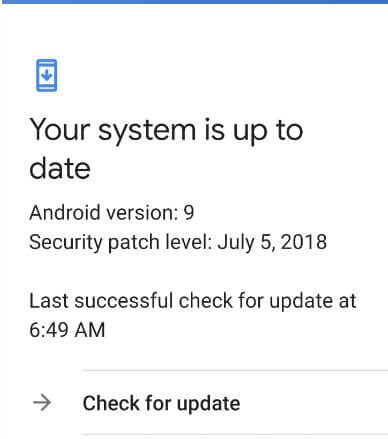 System software update check in Pixel 3 XL 9.0