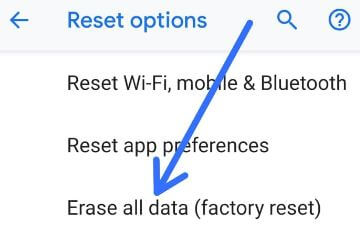 Factory reset Android 9 Pie