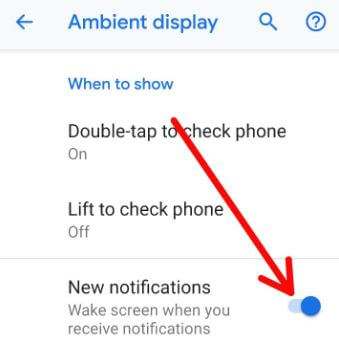 How to turn on Ambient display Pixel 3 Pie
