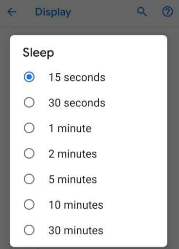Reduce screen time out time on Pixel 3