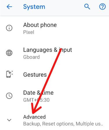 Advanced settings for android 9 Pie
