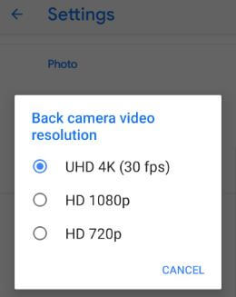Capture 4K video on Google Pixel 3 XL