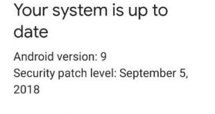 Check system software update Android 9 Pie