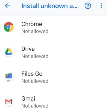 Enable unknown sources on Pixel 3