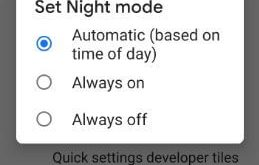 How to turn on night mode automatic on android 9 Pie