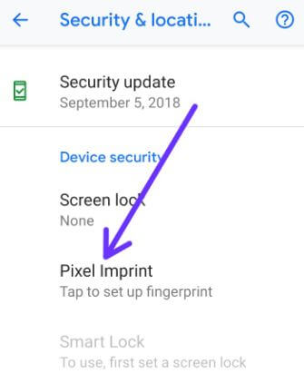 Set up fingerprint recognition on Pixel 3