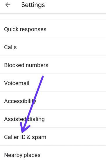 Caller Id and spam settings on android 9 Pie