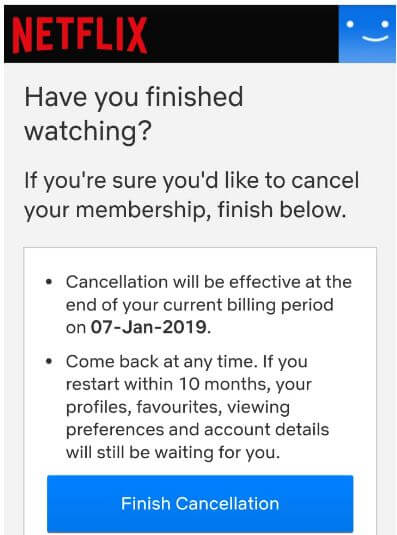 Cancel membership in Netflix Android