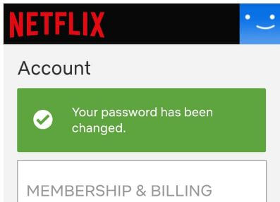 Change password on Netflix app