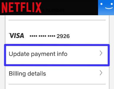 Change payment method on Netflix android