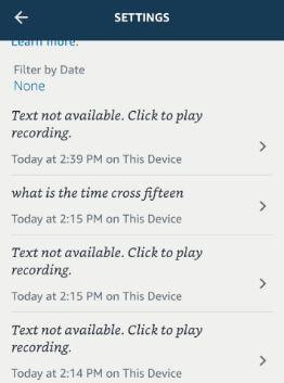 Delete Alexa voice history on Android phone