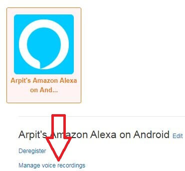 Delete all voice recording history Alexa app at once