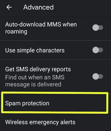 Enable spam protection in android messages