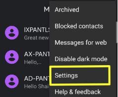 Google Pixel 3 SMS app settings