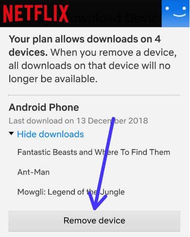 How to remove a device from Netflix download