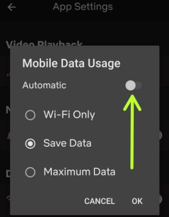 How to stop Netflix data usage on Android phone