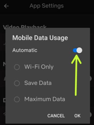 Reduce Netflix data usage on android