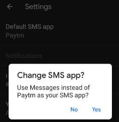 Set default messaging app on Pixel 3