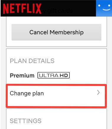 change Netflix Subscription plan on Android