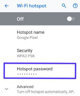 Change wifi hotspot password on Android 9 Pie