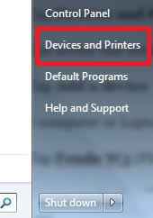 Device and printers in Windows 7 PC