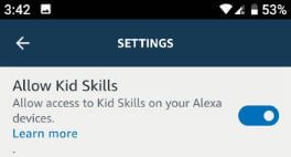 How to enable kid skills for Alexa app