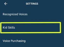Use Kid skill on Amazon Alexa app Android