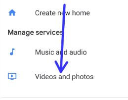 Videos and photos settings in Google home app