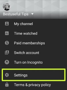 YouTube app settings for change theme Android