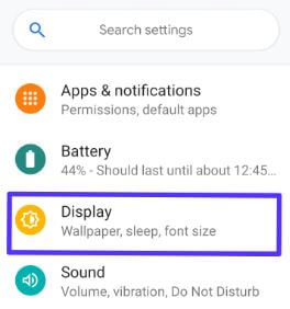 Android Pie display settings for sleep time