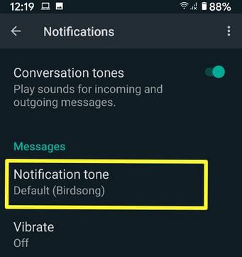 Change Notification Sound on WhatsApp Android Smartphone