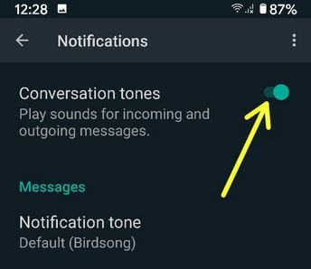 How to Turn Off Conversation Tone on WhatsApp Android Devices