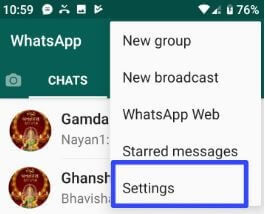 WhtasApp notifications settings on Android devices