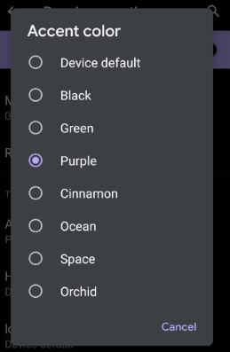 Android Q Beta 4 added new accent colors