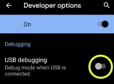 Android Q USB debugging mode