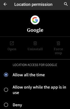 How to change app location permission in Android Q 10