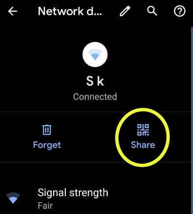 Share Wi-Fi password on android Q