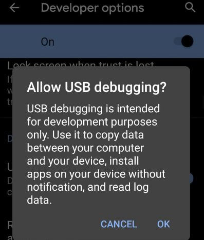 Turn on USB debugging on Android 10 Q