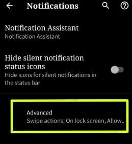 Advacned settings in Android Q Beta 2