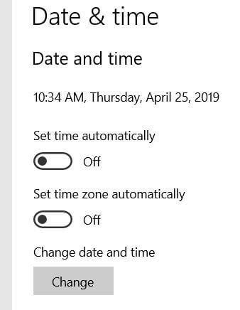 Change Windows 10 date and time