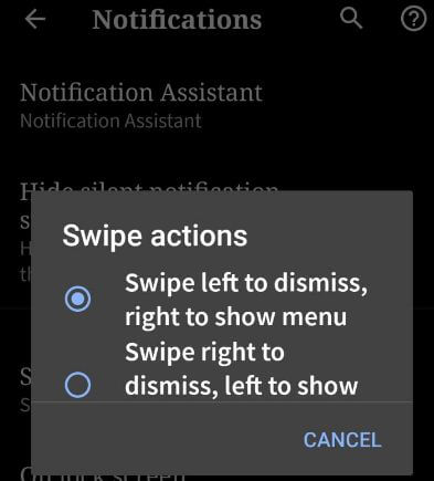 Customize notification swipe directions in android Q Beta 2