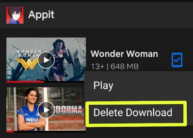 Delete Netflix download movies individually Android